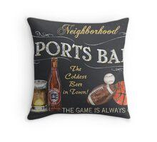 Chalkboard Sports Bar Sign Throw Pillow