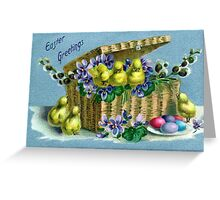 Vintage Easter Basket with Chicks  Greeting Card