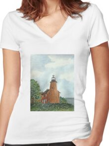 Charlotte Genesee Lighthouse Women's Fitted V-Neck T-Shirt