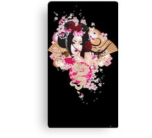 Japanese girl - solid background Canvas Print