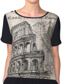 Vintage Travel Poster Rome Chiffon Top