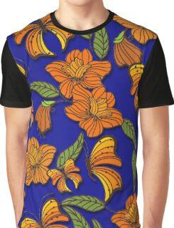 Butterflies and Flowers Art Graphic T-Shirt