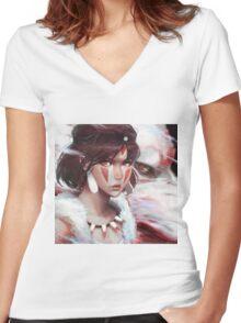 Mononoke Wolf Women's Fitted V-Neck T-Shirt