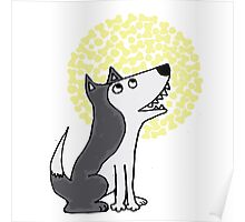 Funny Funky Gray Wolf and Moon Art Poster