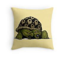 Taunt the timid turtle Throw Pillow