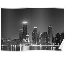 Chi-Town Cityscape (Black & White) Poster