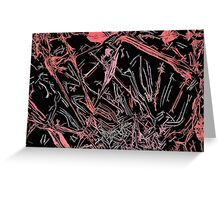 Red, pink on black fabric pattern Greeting Card