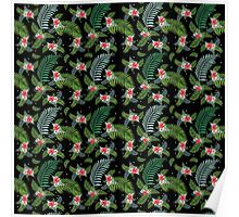 Hibiscus flower green tropical palm tree pattern on black Poster