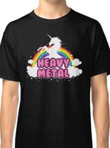 heavy metal parody funny unicorn rainbow Classic T-Shirt