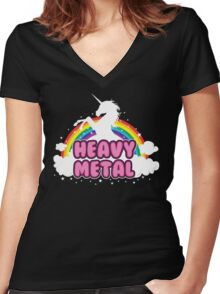 heavy metal parody funny unicorn rainbow Women's Fitted V-Neck T-Shirt