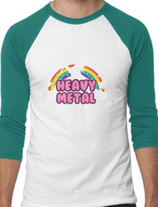 heavy metal parody funny unicorn rainbow Men's Baseball ¾ T-Shirt