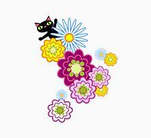 Black Cat in Bright Floral Unisex T-Shirt