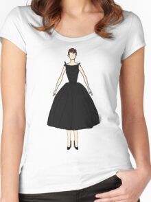 Audrey Black Dress Doll Women's Fitted Scoop T-Shirt