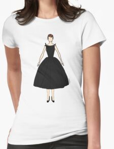 Audrey Black Dress Doll Womens Fitted T-Shirt
