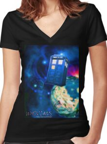 Whovians Best Facebook Group Art Dedication (07/2016) Women's Fitted V-Neck T-Shirt