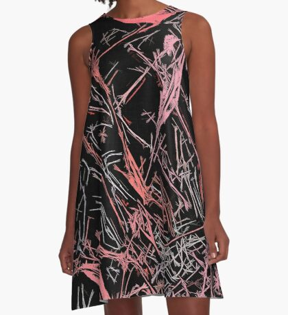 Red, pink on black fabric pattern A-Line Dress