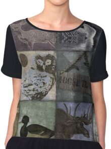 Great Outdoors Wildlife Patchwork Chiffon Top