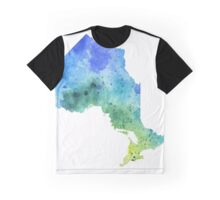 Hand Painted Watercolor Map of Ontario, Canada in Blue and Green - Giclee Print of Original Watercol Graphic T-Shirt