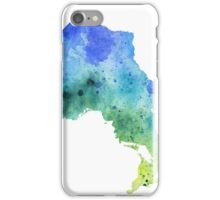 Hand Painted Watercolor Map of Ontario, Canada in Blue and Green - Giclee Print of Original Watercol iPhone Case/Skin