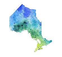 Hand Painted Watercolor Map of Ontario, Canada in Blue and Green - Giclee Print of Original Watercol Photographic Print