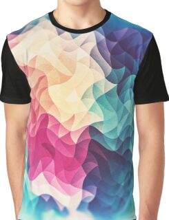 Geometry Triangle Wave Multicolor Mosaic Pattern - (HDR - Low Poly Art) Graphic T-Shirt