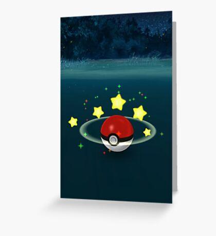 Pokemon Go Poke Ball Stars - Night time Capture Greeting Card