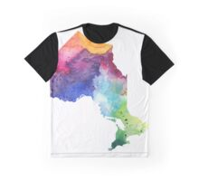 Watercolor Map of Ontario, Canada in Rainbow Colors - Giclee Print of My Own Watercolor Painting Graphic T-Shirt