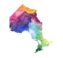 Watercolor Map of Ontario, Canada in Rainbow Colors - Giclee Print of My Own Watercolor Painting Photographic Print