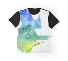 Watercolor Map of Quebec, Canada in Blue and Green - Giclee Print of My Own Watercolor Painting Graphic T-Shirt