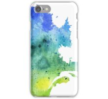 Watercolor Map of Quebec, Canada in Blue and Green - Giclee Print of My Own Watercolor Painting iPhone Case/Skin