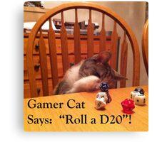 Gamer Cat Roll A D20 Canvas Print