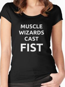 Muscle wizards cast FIST - white text Women's Fitted Scoop T-Shirt