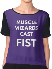 Muscle wizards cast FIST - white text Chiffon Top
