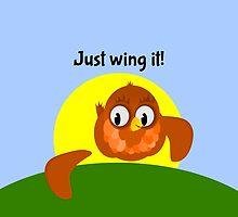 Just Wing It, Bird with a broken Wing by piedaydesigns