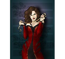 Gothic Girl With Red Ribbon Photographic Print