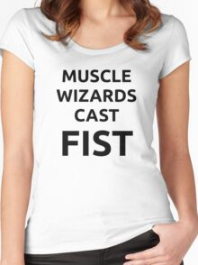 Muscle wizards cast FIST - black text Women's Fitted Scoop T-Shirt