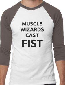 Muscle wizards cast FIST - black text Men's Baseball ¾ T-Shirt