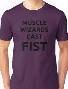 Muscle wizards cast FIST - black text Unisex T-Shirt