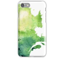 Watercolor Map of Quebec, Canada in Green - Giclee Print of My Own Watercolor Painting iPhone Case/Skin