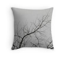 Creepy Gray Trees Throw Pillow