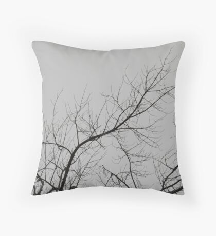Creepy Gray Trees Throw Pillow