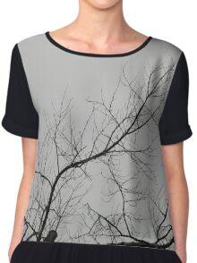 Creepy Gray Trees Chiffon Top