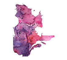 Watercolor Map of Quebec, Canada in Pink and Purple - Giclee Print of My Own Watercolor Painting Photographic Print