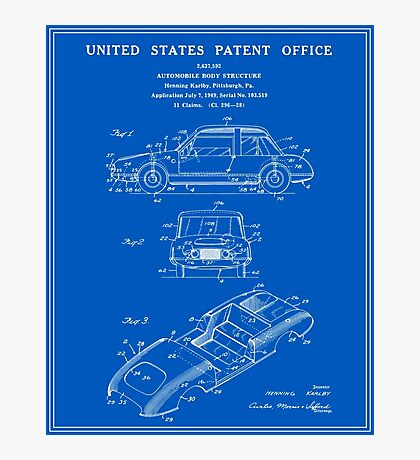 Automobile Body Patent - Blueprint Photographic Print