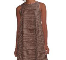 Cognac Wood Grain Texture A-Line Dress
