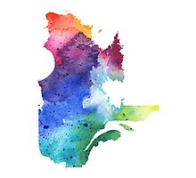 Watercolor Map of Quebec, Canada in Rainbow Colors - Giclee Print of My Own Watercolor Painting Photographic Print
