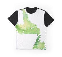 Watercolor Map of Newfoundland and Labrador, Canada in Green - Giclee Print  Graphic T-Shirt