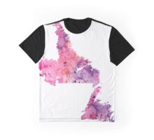 Watercolor Map of Newfoundland and Labrador, Canada in Pink and Purple - Giclee Print  Graphic T-Shirt