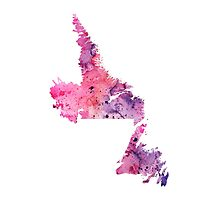 Watercolor Map of Newfoundland and Labrador, Canada in Pink and Purple - Giclee Print  Photographic Print