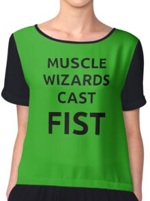 Muscle wizards cast FIST - black text Chiffon Top